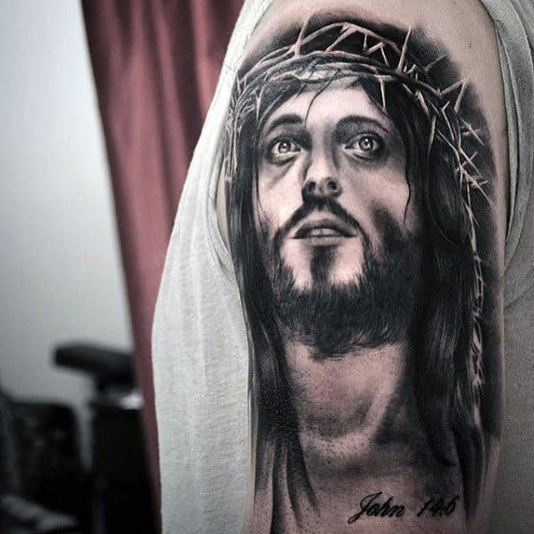 Portrait Of Jesus Wearing Crown Of Thorns Guys Heavily Shaded Half Sleeve Tattoos