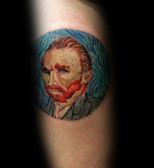 Portrait Of Vincent Van Gogh Mens Arm Tattoo