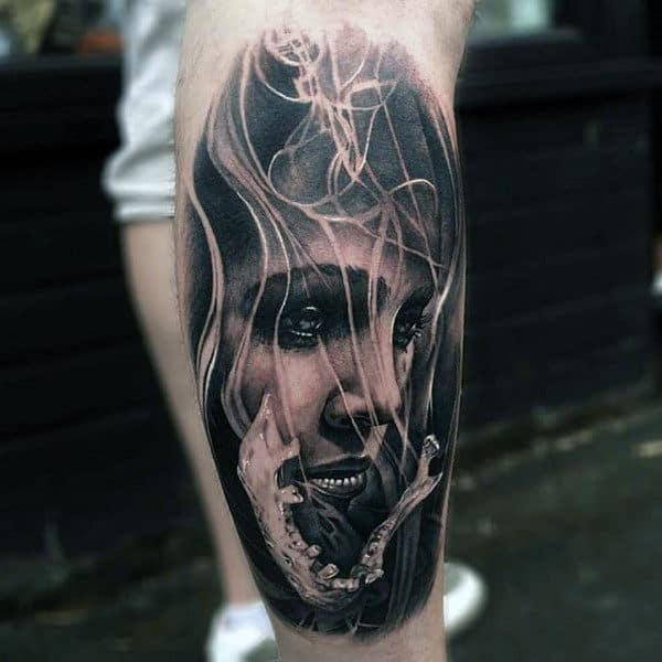 Portrait Of Woman Black Ink Male Leg Tattoo