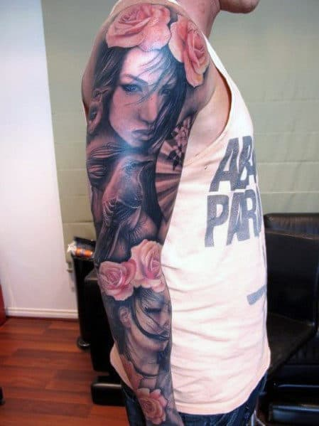 Portrait Rose Sleeve Men's Tatoo