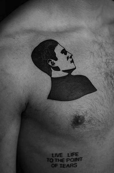 Portrait Small Creative Guys Upper Chest Tattoo Ideas