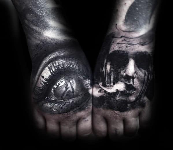Portrait With Eye Guys Creepy 3d Hand Tattoos