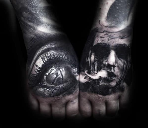 Portrait With Eye Guys Creepy 3d Hand Tattoos