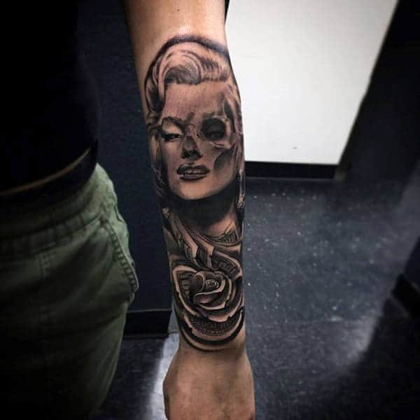 Portrait With Money Rose Black Ink Shaded Mens Tattoos