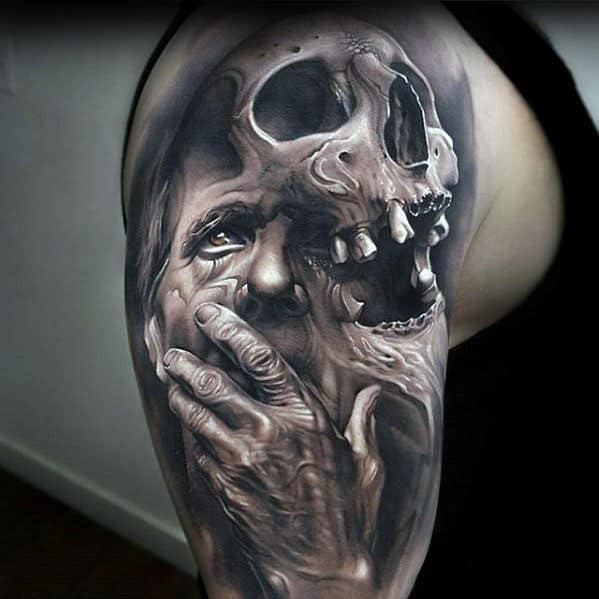 Portrait With Skull Guys 3d Shaded Arm Tattoo Designs