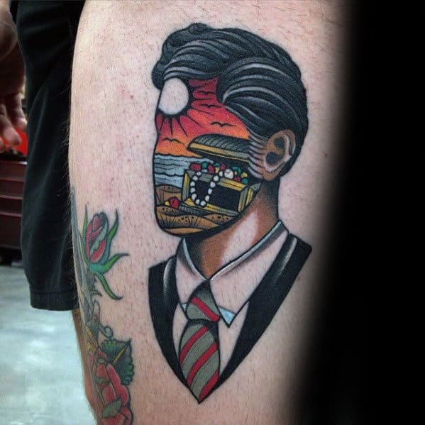Portrait With Treasure Chest Guys Thigh Tattoos