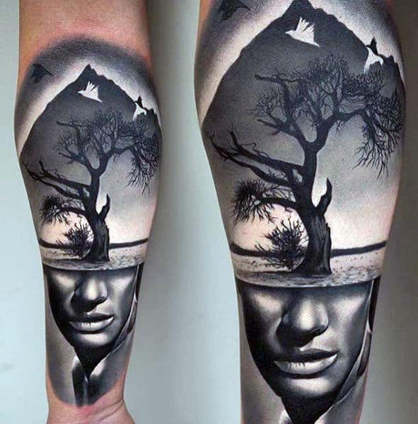 Portrait With Tree 3d Mens Different Forearm Sleeve Tattoo