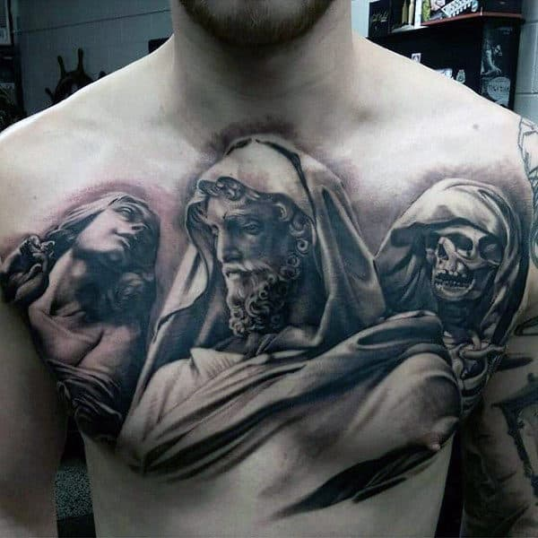 Portraits Black Ink Mens Chest Tattoos