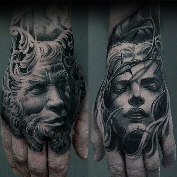 Portraits Unique Hand Tattoos For Guys