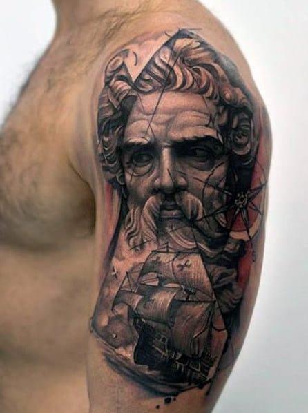 Poseidon Arm Tattoo For Men
