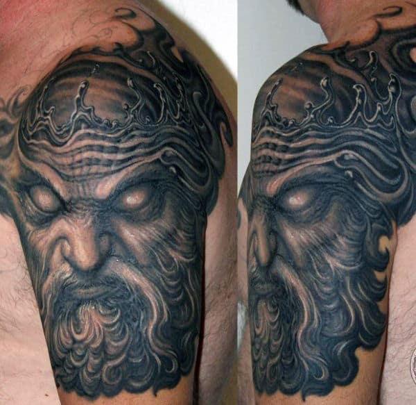 Poseidon God Tattoo For Men
