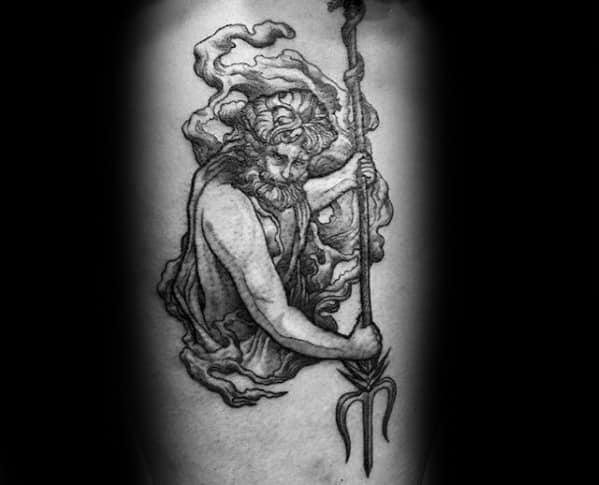 Poseidon Greek God Trident Mens Tattoo Designs