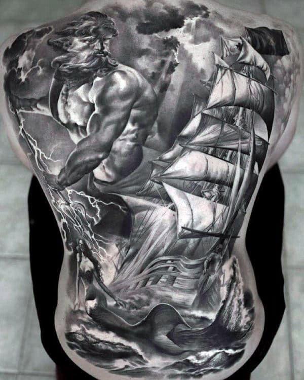 Poseidon Greek Mythology Tattoo On Back Of Man