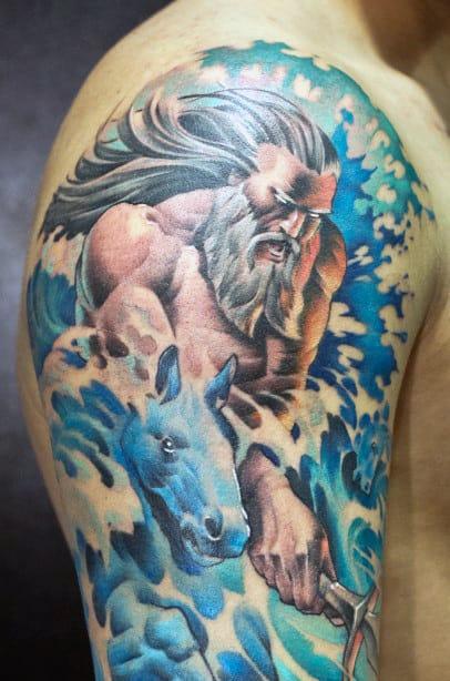 Poseidon Roman Tattoo Ideas For Guys