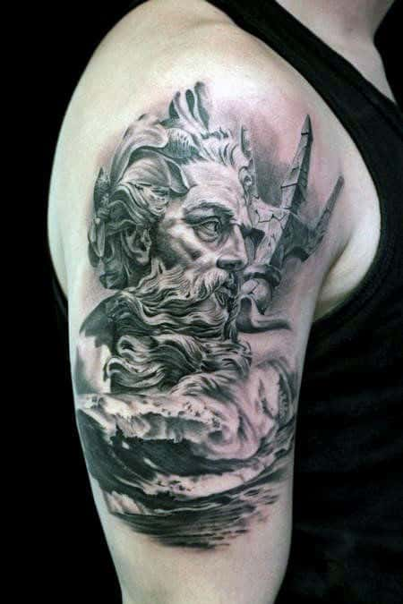 30 Poseidon Tattoo Designs For Men - Greek God Of The Sea