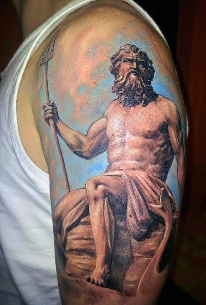 Poseidon Water Tattoos For Guys On Arms