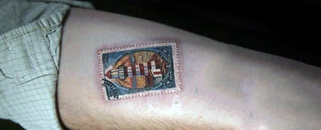 Postage Stamp Tattoo Designs For Men