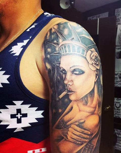 Potrait Lady Liberty Tattoo For Males