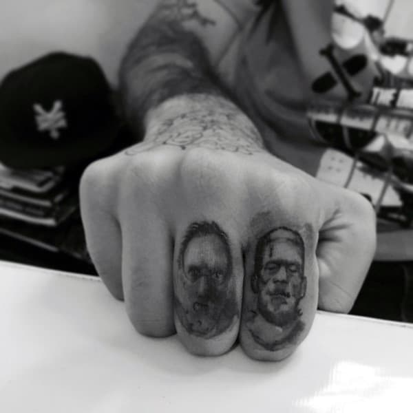 Potrait Mens Finger Tattoos