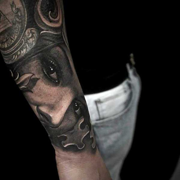 Potrait Puzzle Piece Mens Tattoo On Forearm