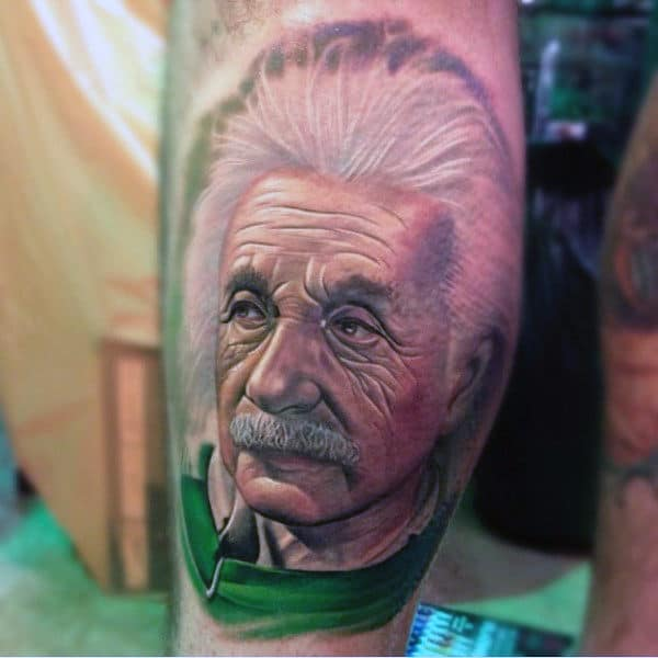 Potrait Science Tattoo Of Albert Einstein On Leg
