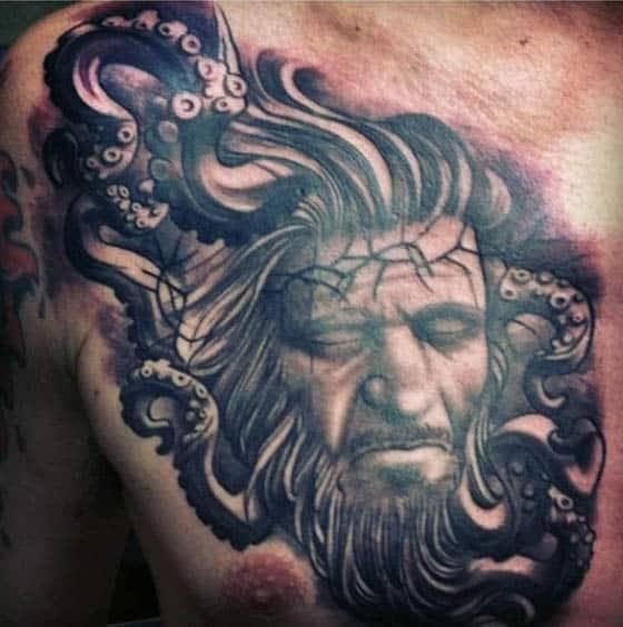 Potrait Squid Tentacles Mens Tattoo On Upper Chest