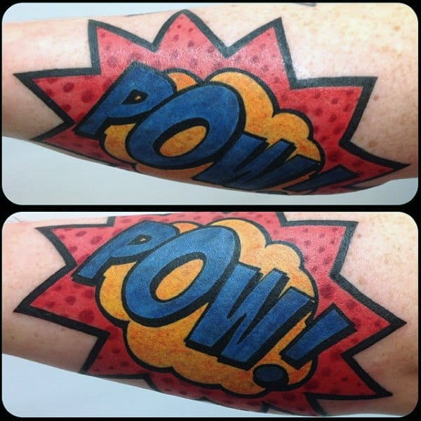 Pow Mens Pop Art Arm Tattoo