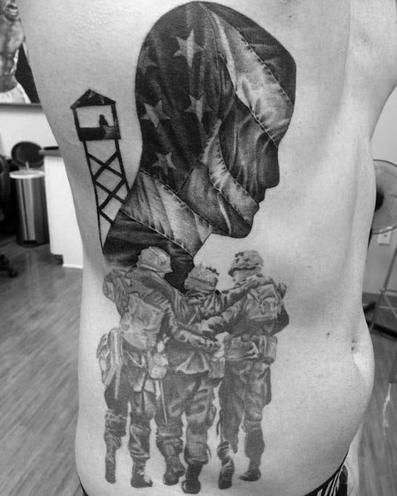 Pow Mia Mens Tattoo Designs On Rib Cage Side