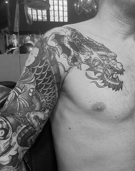 Powerful Dragon Tattoo Male Full Sleeves