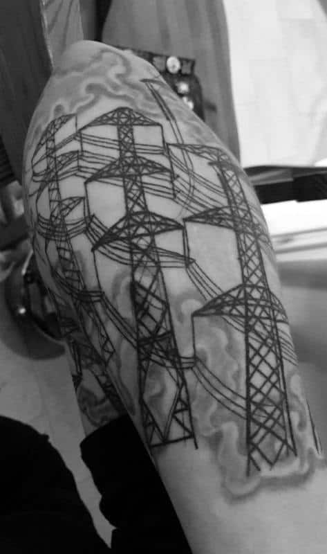 Powerlines Lineman Guys Outer Forearm Tattoo Design Inspiration