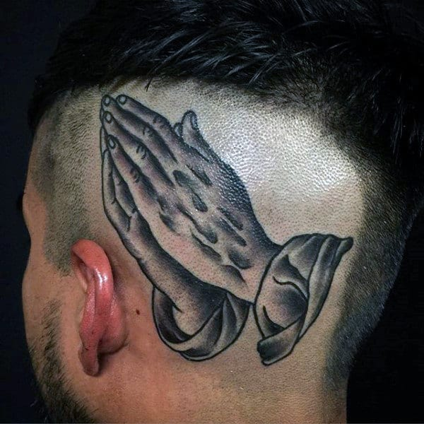 Pray Hand Tattoos For Males On Back Of Head