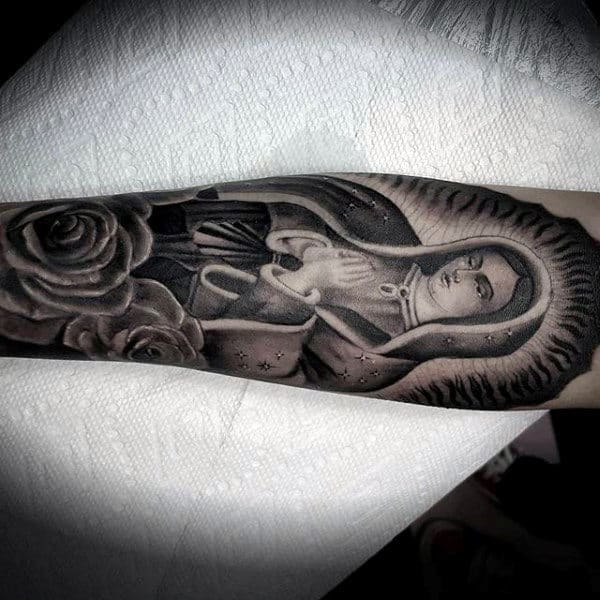 Prayer Virgin Mary Forearm Tattoo On Male With Rose Flower Design