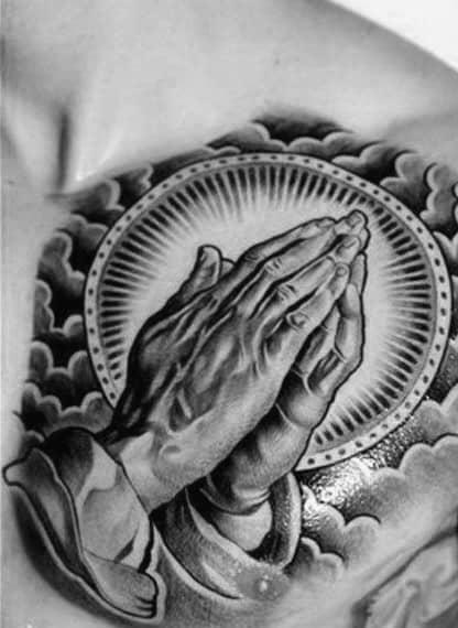 Praying Hands Cloud Mens Chest Tattoo