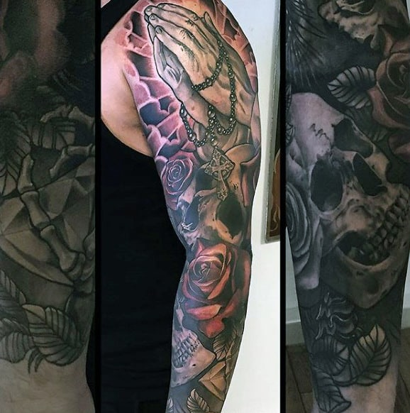 Praying Hands Sleeve Tattoo On Man