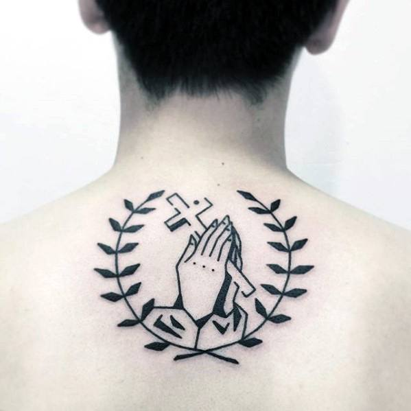 Praying Hands With Cross Mens Simple Upper Back Tattoo Ideas