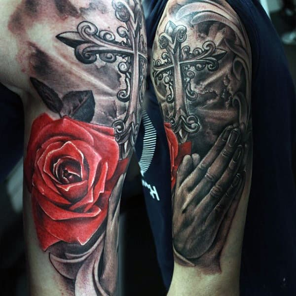 Praying Hands With Roses Tattoo Designs For Guys In Red Ink