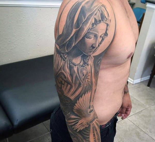 Praying Lady Religious Tattoo Male Sleeves