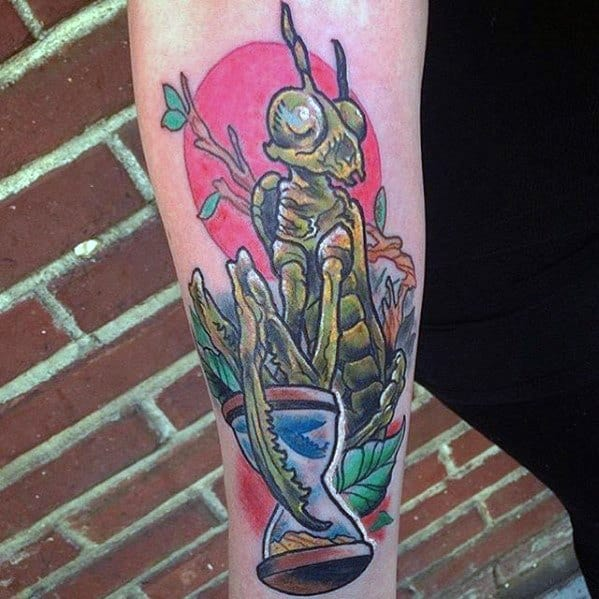 Praying Mantis Tattoo Design On Man