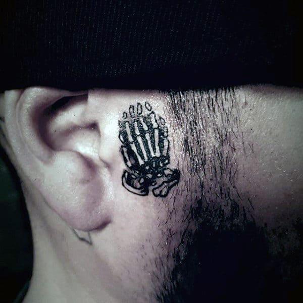 Praying Skeleton Hands Mens Small Face Tattoos