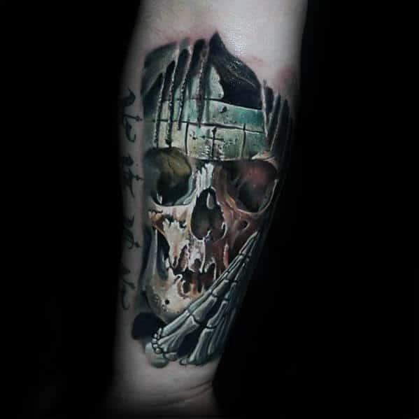 Praying Skull Bones Guys 3d Inner Forearm Tattoo Design Ideas