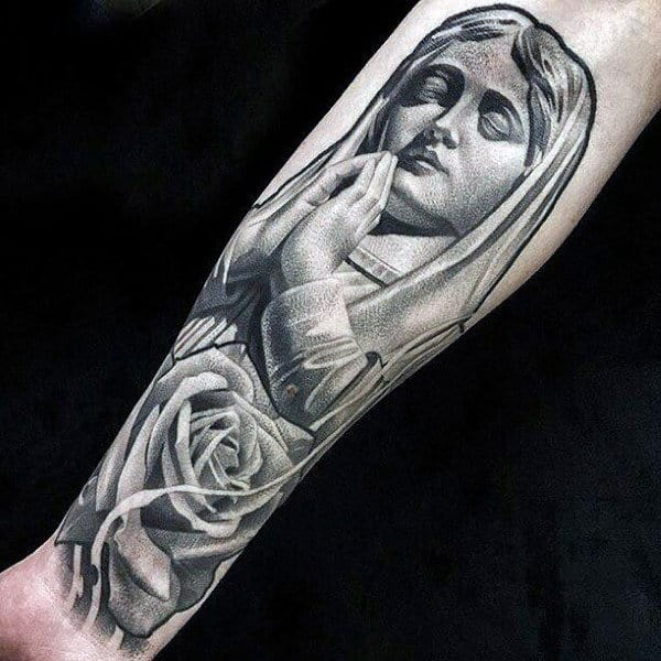Praying Virgin Mary Inner Forearm Male Tattoos