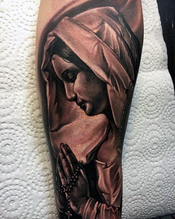 Praying Virgin Mary With Rosary Mens Forearm Sleeve Tattoo