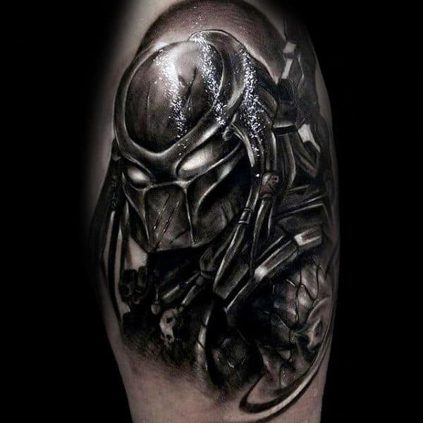 Predator Black And Grey With Glowing White Eyes Mens Arm Tattoos
