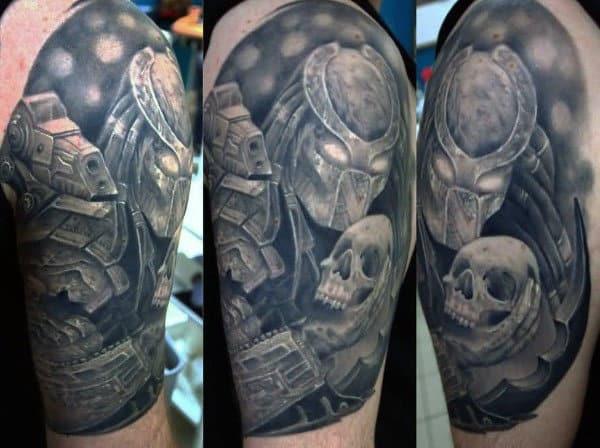 Predator Holding Skull Mens Half Sleeve Tattoos