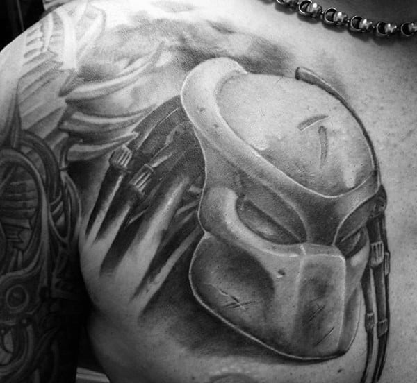 Predator Mask Mens Upper Chest Tattoos