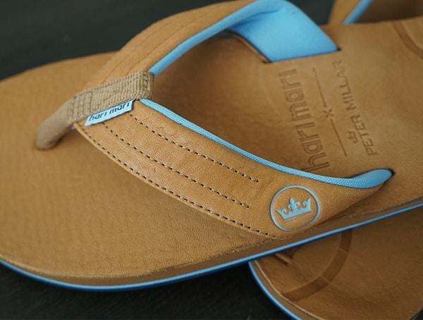Premium American Horween Leather Mens Hari Mari Peter Millar Flip Flops