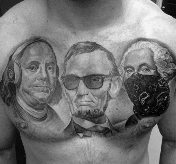 President Themed Mens Cool Abraham Lincoln Chest Tattoo Ideas
