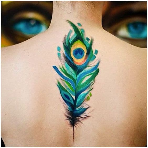 Pretty Back Peacock Feather Tattoo