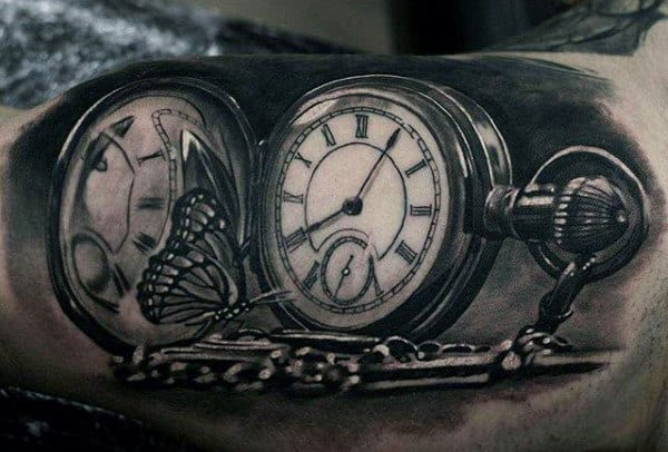 Pretty Butterfly On Pocket Watch Tattoo For Men On Forearms