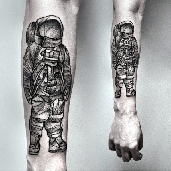 Pretty Dotted Grey Astronaut Tattoo On Forearms Guys
